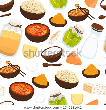 Vector seamless pattern with probiotic foods. Best sources of probiotics. Beneficial bacteria improv Stock photo © user_10144511