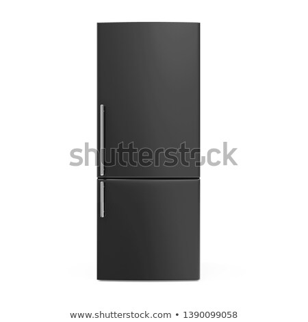 Stock photo: Black refrigerator