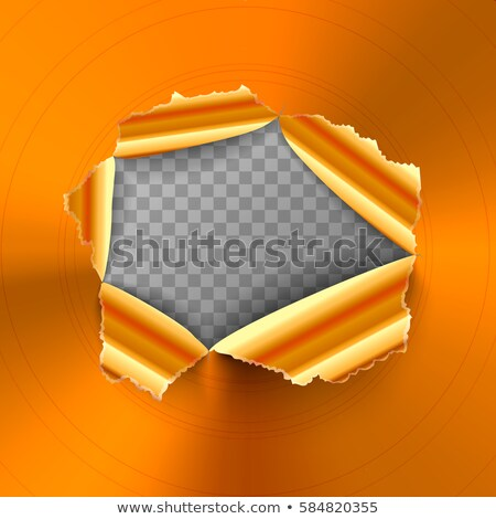 Torn hole in glossy round polished bronze metal plate Stock photo © evgeny89