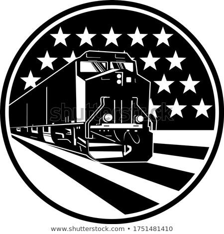 Diesel locomotief trein amerikaanse USA vlag Stockfoto © patrimonio