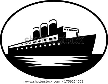 Klasszikus csónak óceán ovális retro feketefehér Stock fotó © patrimonio