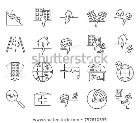 Aardbeving icon ontwerpsjabloon bouw achtergrond wetenschap Stockfoto © Ggs