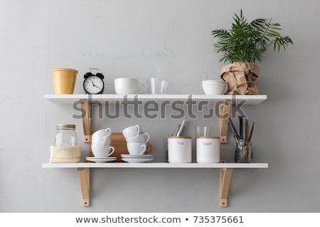 kuchnia · półka · krajowy · roślin · puli · ściany - zdjęcia stock © jet_spider