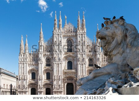 Stone lion in Piazza Duomo, Milan Stock photo © aladin66