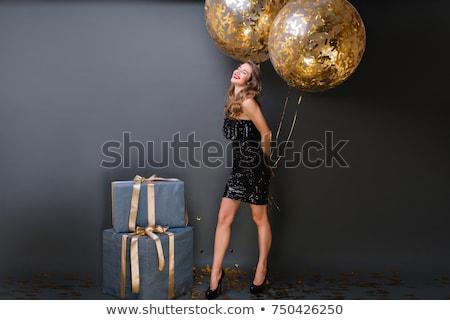 Рождества · представляет · женщину · Hat - Сток-фото © zastavkin