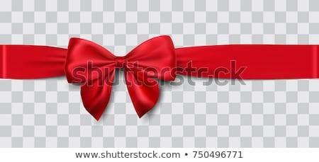 Gyönyörű vörös szalag íj születésnap vásárlás ajándék Stock fotó © leeser