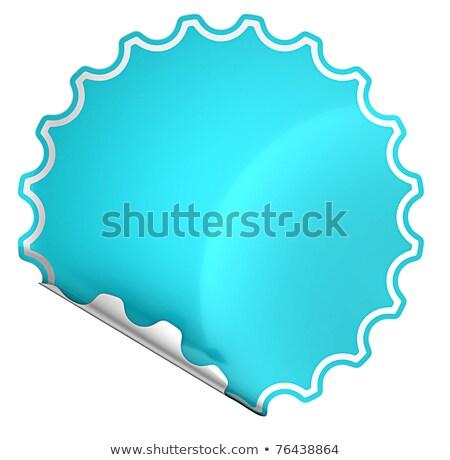 Blue Rounded Hamous Sticker Or Label On White Stok fotoğraf © Arsgera