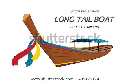 uzun · kuyruk · tekne · plaj · gün · batımı · güneş - stok fotoğraf © alvinge
