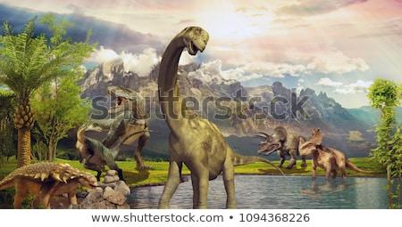 Динозавры · семьи · смешные · Cartoon · воды · пейзаж - Сток-фото © galyna