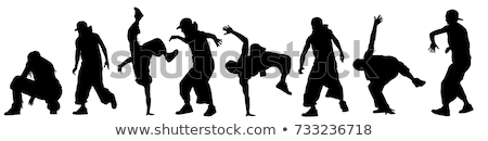 silhouettes of street dancers on a white background Stock photo © evgenyatamanenko