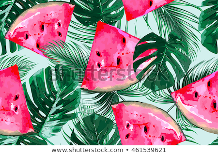 Сток-фото: Seamless Pattern Of Red Watermelons Slices