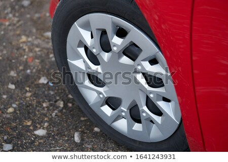 Stock photo: Cherry red car front detail