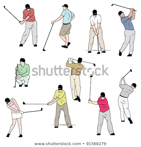 ten golf players vector illustration stock photo © leonido