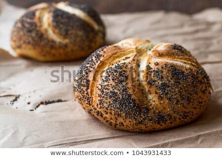 白パン ケシ 種子 木板 食品 ストックフォト © joker