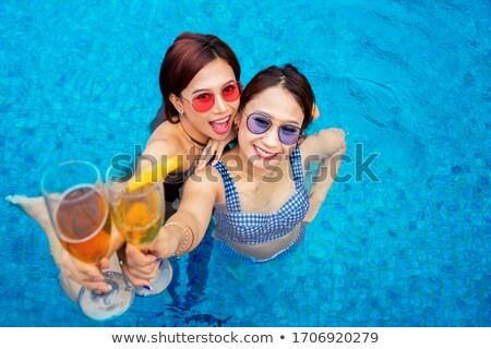 mooie · vrouw · bikini · zonnebril · champagne · mooie · brunette - stockfoto © christinerose81