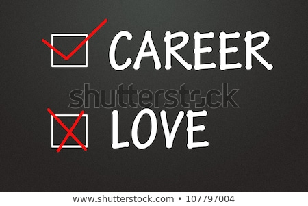 love and career choices with check boxes on a blackboard stock photo © bbbar