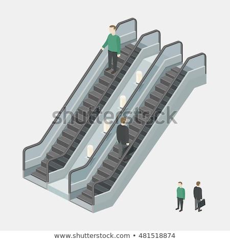 Zakenman roltrap geïsoleerd 3D afbeelding business Stockfoto © ISerg
