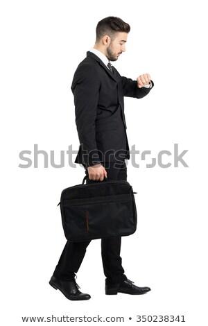 молодые · деловой · человек · чемодан · портрет · счастливым - Сток-фото © feedough