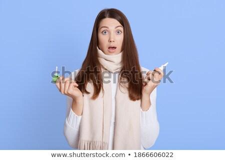 Nő papírzsebkendő spray indiszponált influenza izolált Stock fotó © juniart