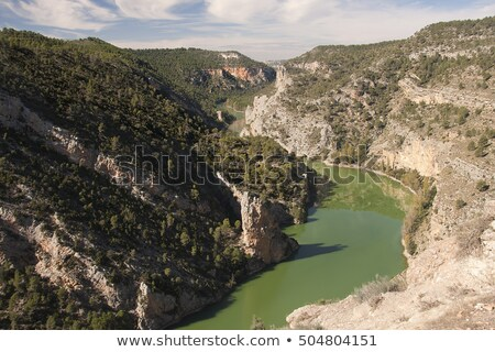 Rivière vallée vue Espagne coucher du soleil montagne Photo stock © Procy