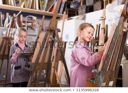 профессиональный подготовки Живопись женщину человека лодка Сток-фото © photography33