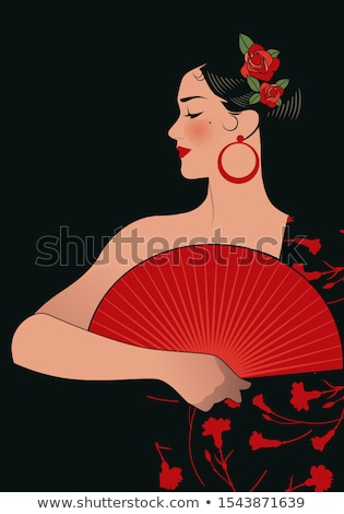 belle · danseur · robe · rouge · visage · femmes - photo stock © tobkatrina