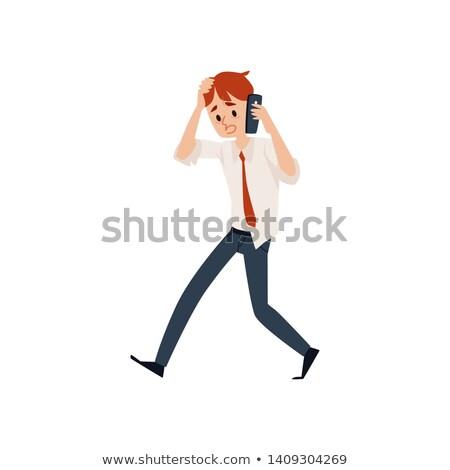 Işadamı kötü haber cep telefonu haber genç beyaz Stok fotoğraf © photography33