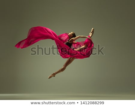 Female modern dancer posing on grey Stock photo © dash