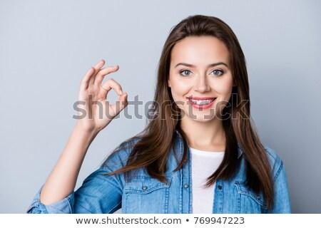 Közelkép üzletasszony mutat ok felirat fehér Stock fotó © wavebreak_media