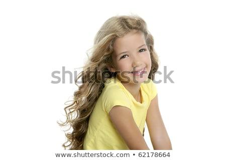 sarışın · genç · kız · kıvırcık · saçlı · güzel · yüz · bakıyor - stok fotoğraf © carlodapino