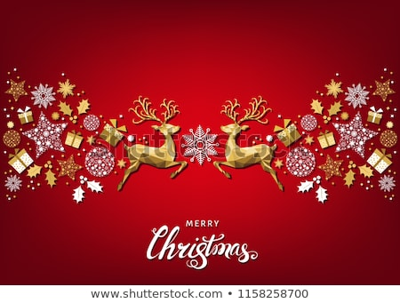 Merry Christmas contemporary jumping deers Stock photo © cienpies
