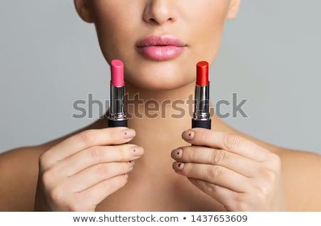Lippenstift twee kleuren roze perzik mode Stockfoto © elly_l