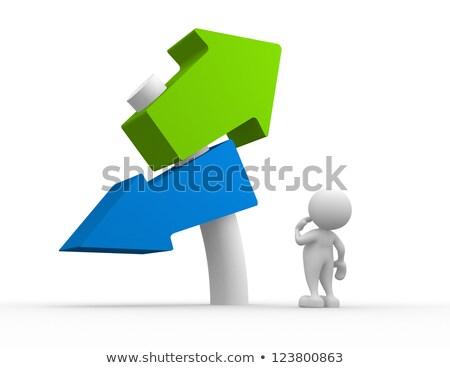 ストックフォト: 3次元の人々 · 道路標識 · 成功 · 失敗 · グレー · ビジネス