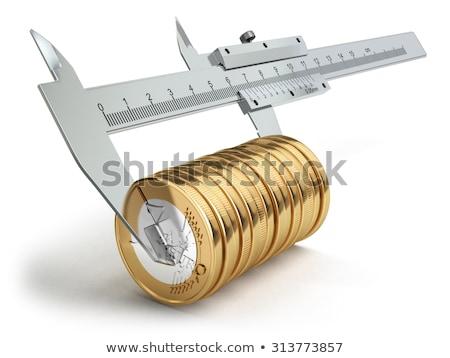Euro · egy · érme · izolált · fehér · vágási · körvonal - stock fotó © Antonio-S