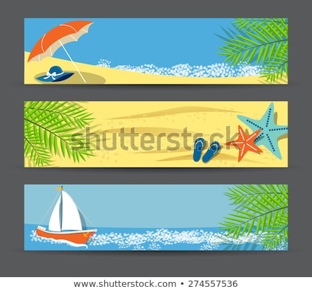 Stock photo: Banner with cocktails on the beach