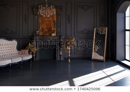 fekete · csillár · sziluett · klasszikus · kristály · otthon - stock fotó © mintymilk