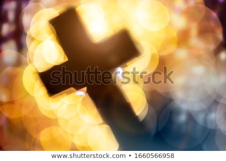 church interior with candle and stained glass windows Stock photo © kyolshin