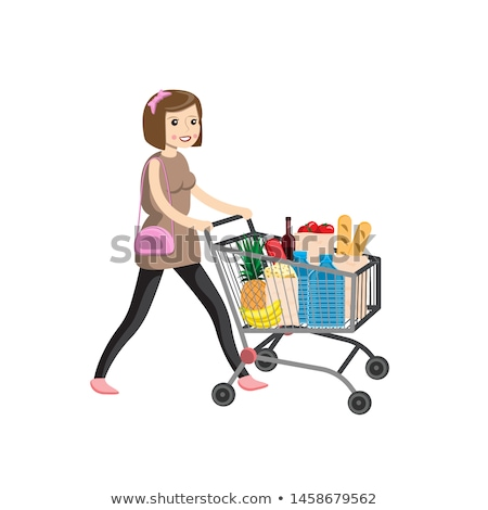 mooie · jonge · vrouw · winkelen · granen · kruidenier · supermarkt - stockfoto © vlad_star