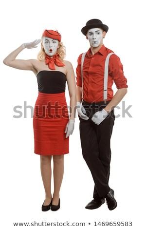 Palhaço mulher jovem em pé branco Foto stock © smithore