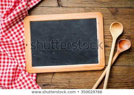 Stockfoto: Lege · Blackboard · houten · lepels · Rood