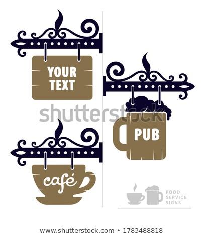 Kaffeehaus · Veröffentlichung · Zeichen · Holzschild · Banner · Holz - stock foto © loopall