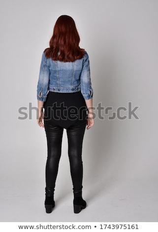 Vue arrière belle femme cuir pants Soutien-gorge Photo stock © Elisanth