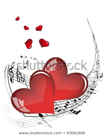 Heart of treble clef and bass love music valentine day vector illustration  Stock photo © Hermione
