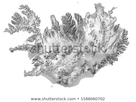 Islandia · reikiavik · mapa · vintage · 1920 · rojo - foto stock © volina