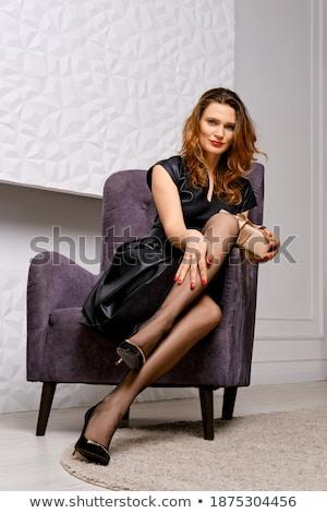 mooie · jonge · vrouw · vintage · lingerie · geïsoleerd - stockfoto © elisanth