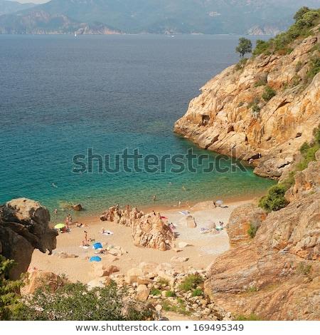 Rejtett tengerpart Korzika család sport tájkép Stock fotó © richardjary
