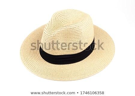 ストックフォト: 女性 · パナマ · 帽子 · 孤立した · 白 · 少女