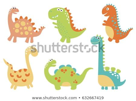かわいい · 恐竜 · 漫画 · 笑みを浮かべて · 2 · 大きな目 - ストックフォト © aminmario11