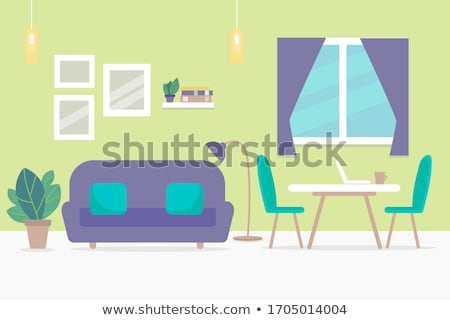 Stok fotoğraf: Set Of Flat Vector Design Illustration Of Modern Business Workspace