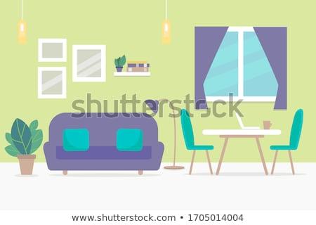 set of flat vector design illustration of modern business workspace stock photo © brainpencil